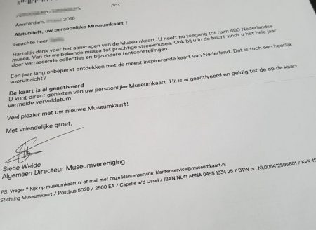 Museumkaart brief